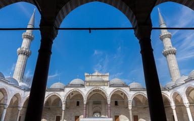 Courtyard and minarets in Syleymaniye mosque, Istanbul