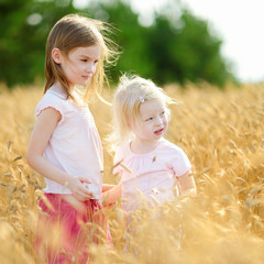 Two little sisters walking happily in wheat field