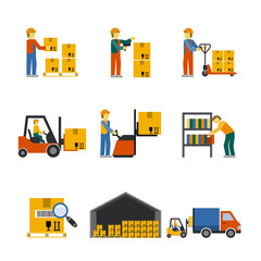 Warehouse Icon Flat