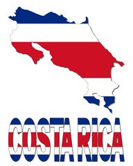 Costa Rica map flag and text illustration