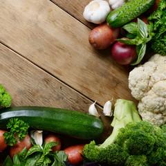 Fresh green vegetable set