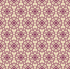 Pink Color Flower and Plant Pattern Design.