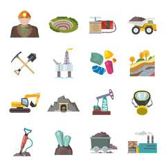 Mining Icons Flat