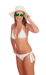Blonde woman in bikini with sunglasses