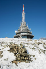 Telecommunication tower on the Zobor hill near Nitra city in win