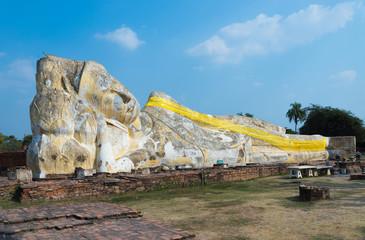 Buddha sleep statue in wat lokayasutharam temple in Ayutthaya