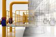 Leinwanddruck Bild - Tubature, riscaldamento, compressori, bim, convettori