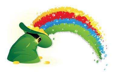 Rainbow and  Leprechaun hat