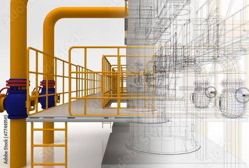 Leinwanddruck Bild Tubature, riscaldamento, compressori, bim, convettori