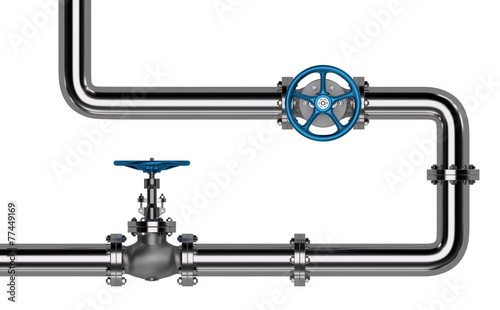 Pipes with Valves isolated. 3D render - 77449169