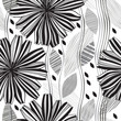 Monochrome seamless pattern of abstract flowers.