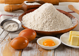 Baking ingredients  on  white wooden background