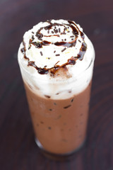 Ice chocolate with whipped cream