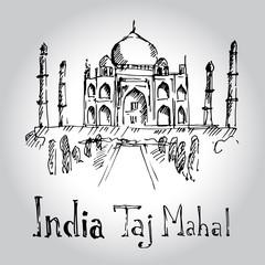 Taj Mahal. India. Hand drawn vector illustration.