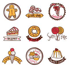 Sweet shop emblems labels set