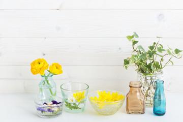 黄色い花 花 白い壁