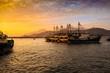canvas print picture - Frachtschiff, Hafen, Sonnenuntergang