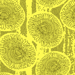 Seamless pattern of dandelions. Hand-drawn floral background,  v