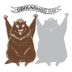 Groundhog and shadow. Symbol of Groundhog day. Cartoon vector il