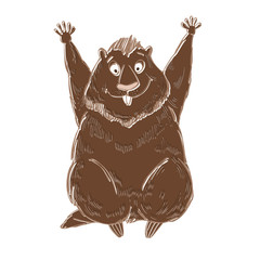 Groundhog. Symbol of Groundhog day. Cartoon vector illustration