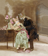 Chats amoureux en 1900. La déclaration d'amour.