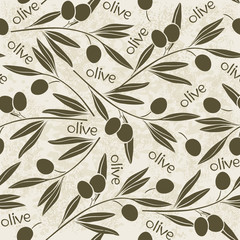 Seamless pattern with olive branch. Hand-drawn floral backgroun