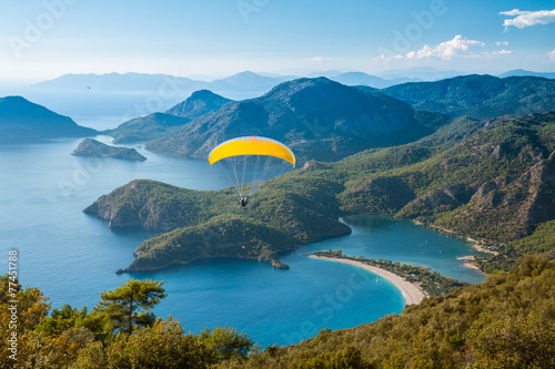 Foto op Plexiglas Luchtsport Oludeniz lagoon in sea landscape view of beach