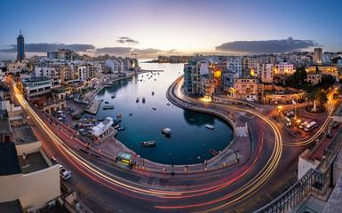Aerial View on Saint Julien and Spinola Bay at Dawn, Malta