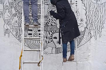 Dibujando en la pared