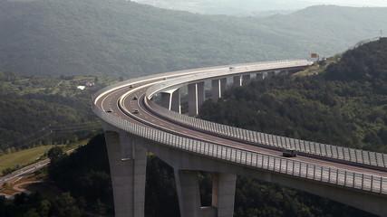 Traffic over the highway bridge