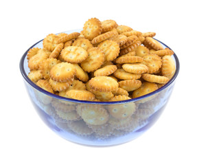 Snack crackers in blue bowl