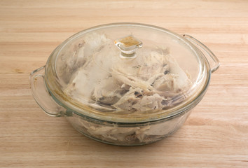 Portion of turkey in a glass dish with lid