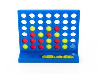 Blaues Strategiespiel mit gelben Spielchips - frontal