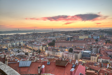 Portugal, Europe - Viewpoint to Lisbon downtown at sunset, with