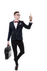 young promoter businessman pointing at side isolated on a white