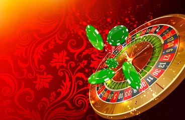 Casino wheel roulette, casino chips and money floating