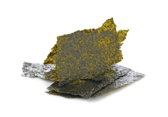 Dry nori - seaweed on white background