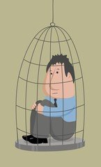 businessman in cage