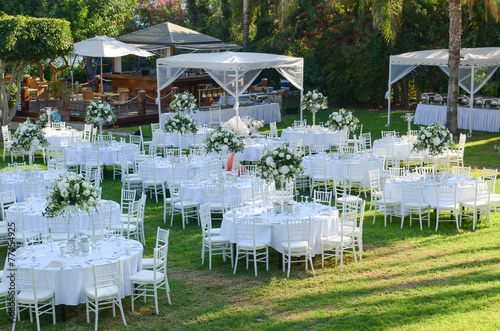 Leinwandbild Motiv Outdoor wedding reception. Wedding decorations