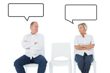 Upset couple not talking to each other after fight