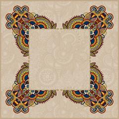 floral frame, ethnic ukrainian ornament on paisley background