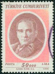 stamp printed in the Turkey shows Mustafa Kemal Ataturk