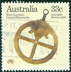 stamp printed in Australia shows Astrolabe (Batavia 1629)