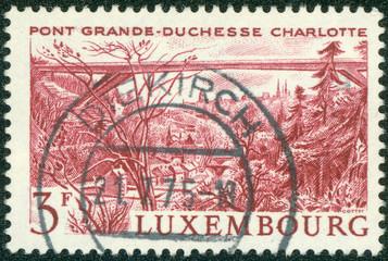 stamp  shows Grand Duchess Charlotte Bridge