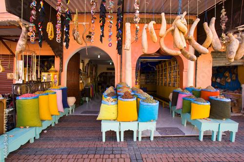 Fotobehang Marokko Spices shop in the souk of Marrakech, Morocco