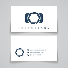 Business card template. Camera conceptl logo