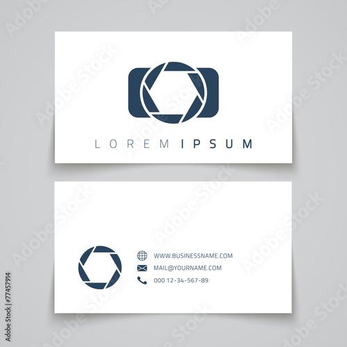 Business card template. Camera conceptl logo - 77457914