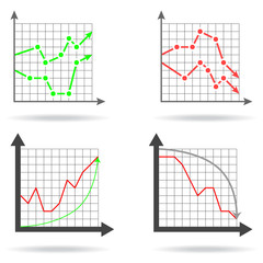 Icons of financial charts on white background