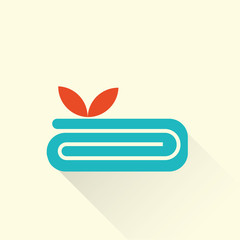 spa towel icon with a flower