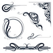 Art nouveau ornament set - 77458508